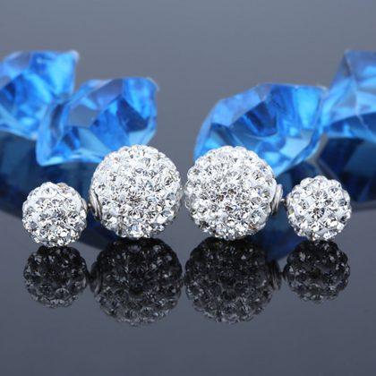 Cercei argint 925 bilute duble cu zirconiu sus
