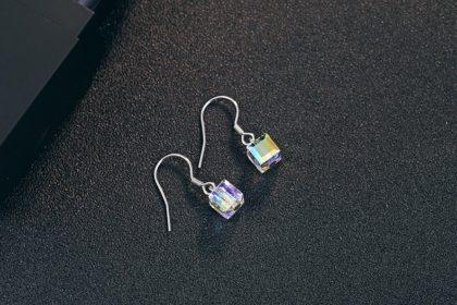Cercei argint 925 cristale zirconiu deosebite sus