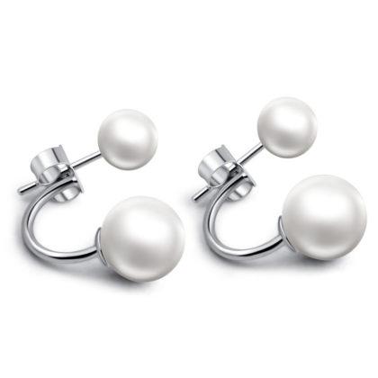 Cercei eleganti argint 925 perla dubla