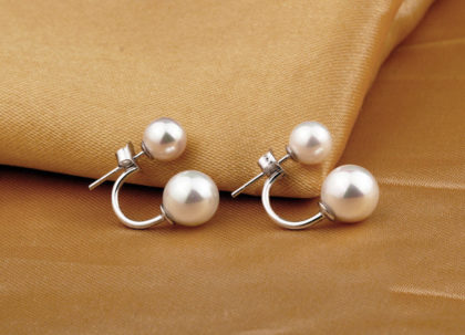 Cercei eleganti argint 925 perla dubla fata