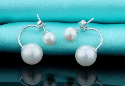 Cercei eleganti argint 925 perla dubla sus