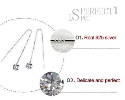Cercei lungi argint 925 zirconiu fata