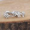 Cercei mici argint 925 cu floricele si zirconiu fata