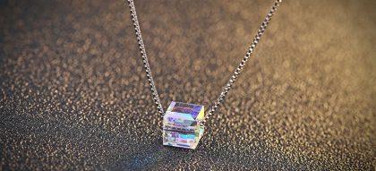Colier argint 925 cristal patrat