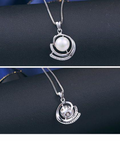 Colier argint 925 elegant perla naturala fata