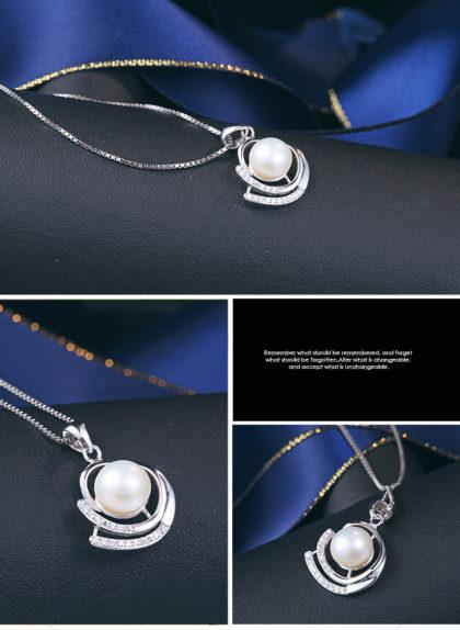 Colier argint 925 elegant perla naturala profil