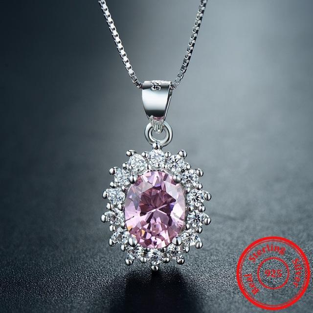 Colier argint 925 elegant zirconiu roz