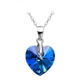 Colier argint 925 inimioara cristal albastru