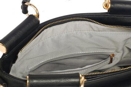 Geanta neagra-alba Lock Flap Tote interior