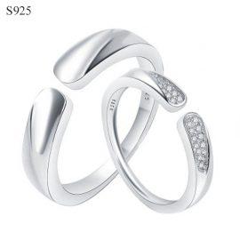 Inele cuplu argint 925 ajustabile
