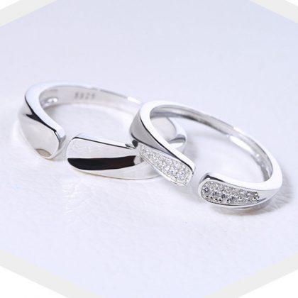 Inele cuplu argint 925 ajustabile sus