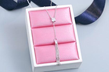 Lantisor argint 925 cristal zirconiu patrat fata