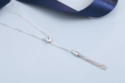 Lantisor argint 925 cristal zirconiu patrat sus