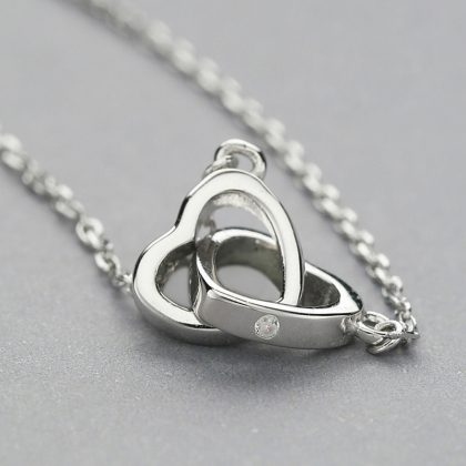Lantisor argint 925 inimioara dubla sus