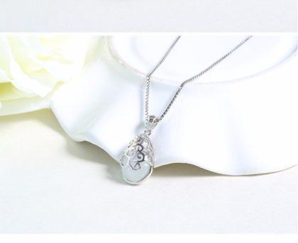 Lantisor argint 925 pandantiv cuart alb fata