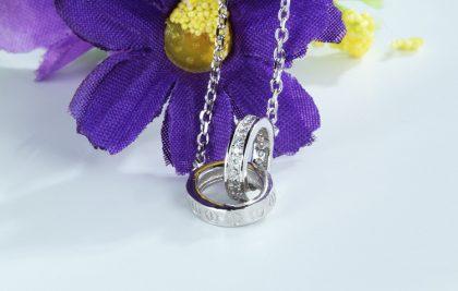 Lantisor argint 925 pandantiv sfere zirconiu fata