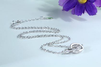 Lantisor argint 925 pandantiv sfere zirconiu profil