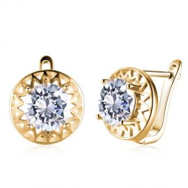 Cercei eleganti sferici placati aur