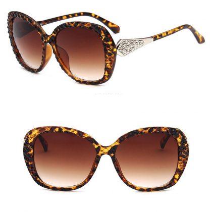 Ochelari de soare imprimeu leopard si cristale profil