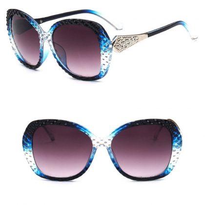 Ochelari de soare rame albastre cu cristale profil