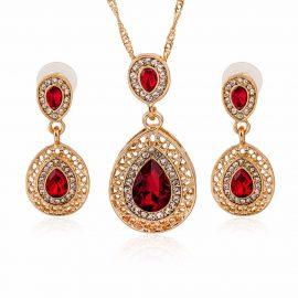 Set elegant placat aur colier si cercei cristale rosii