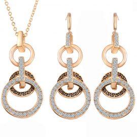 Set elegant placat aur colier si cercei sfere