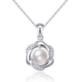 Colier argint 925 floricica cu perla
