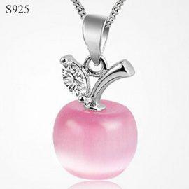 Colier argint 925 pandantiv din opal roz