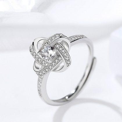 Inel ajustabil argint 925 floricica zirconiu fata