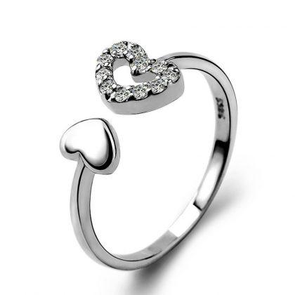 Inel ajustabil argint 925 inimioare zirconiu