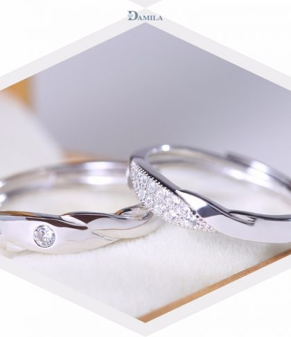 Inele cuplu argint 925 ajustabile Damila fata