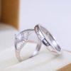 Inele cuplu argint 925 ajustabile deosebite zirconiu fata