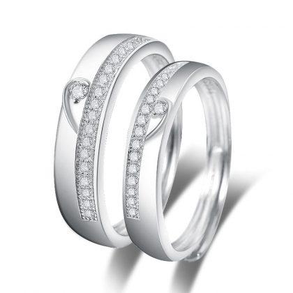 Inele cuplu argint 925 ajustabile elegante zirconiu