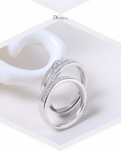 Inele cuplu argint 925 ajustabile elegante zirconiu fata