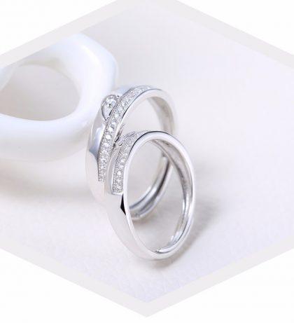 Inele cuplu argint 925 ajustabile elegante zirconiu profil