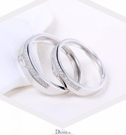Inele cuplu argint 925 ajustabile elegante zirconiu sus