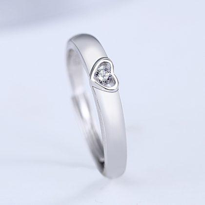 Inele cuplu argint 925 ajustabile inimioare zirconiu ea