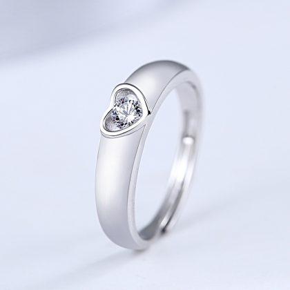 Inele cuplu argint 925 ajustabile inimioare zirconiu el