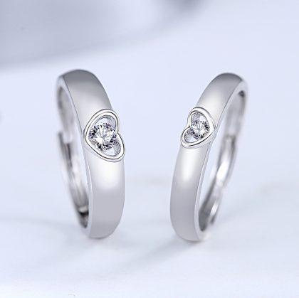 Inele cuplu argint 925 ajustabile inimioare zirconiu fata
