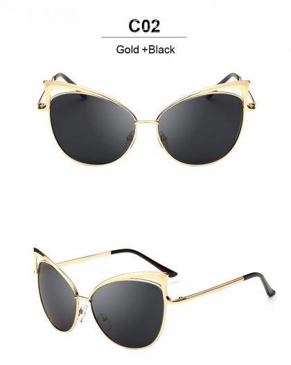 Ochelari de soare aurii lentile negre Cat Eye profil