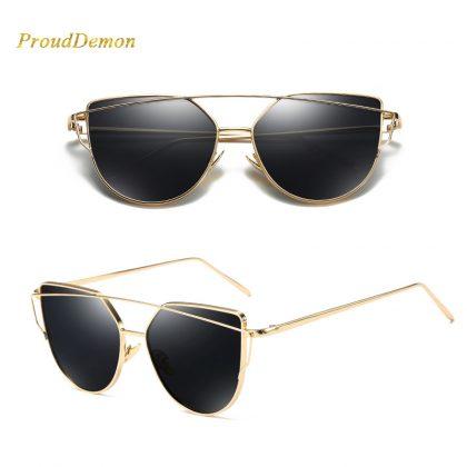 Ochelari de soare aurii lentile negre ProudDemon profil
