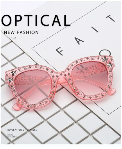 Ochelari de soare roz inserati cu cristale fata