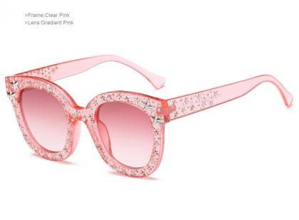 Ochelari de soare roz inserati cu cristale profil