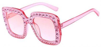 Ochelari de soare roz inserati cu cristale ProudDemon fata
