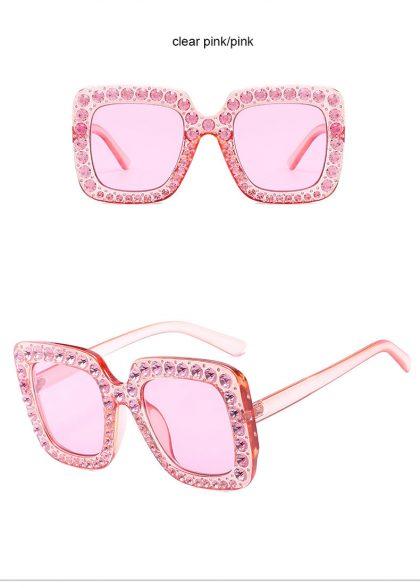 Ochelari de soare roz inserati cu cristale ProudDemon profil