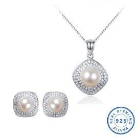 Set argint 925 colier si cercei eleganti cu perle naturale