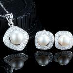 Set argint 925 colier si cercei eleganti cu perle naturale fata