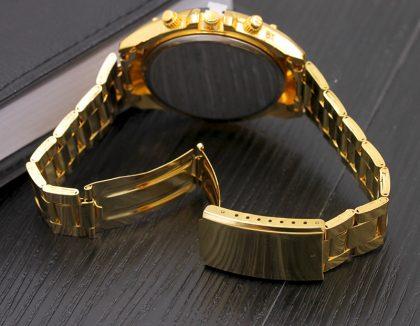 Ceas barbati auriu cadran negru M&H spate