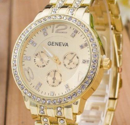 Ceas de mana auriu cu cristale cadran