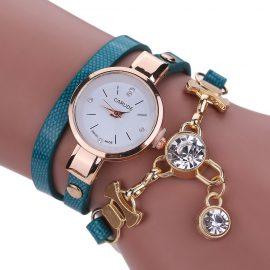 Ceas de mana cu bratara albastru marin si cristale Carude
